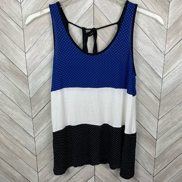 Studio Y Tops - Blue, white, black, with silver Polka dots tank